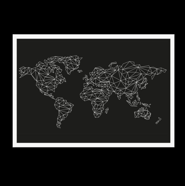 Grafisk verdenskort, sort