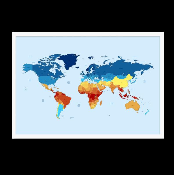Kort af verden med varme illustration