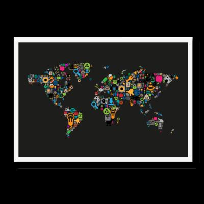 Verdenskortet i ikoner, med sort baggrund