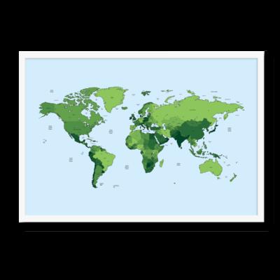Verdenskortet i grønne farver