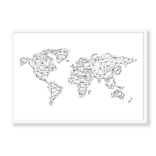 Grafisk verdenskort i farven hvid