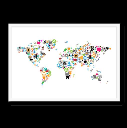 Verdenskortet i ikoner, med hvid/negativ baggrund