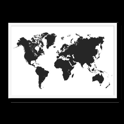 Verdenskort i silluet, sort farve